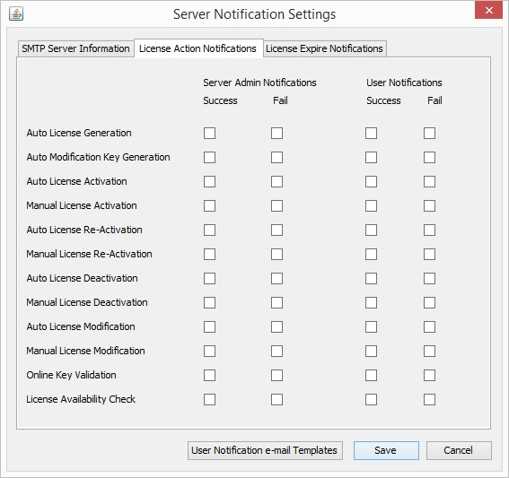 Auto License Generation and Activation Server Notifications Settings 1