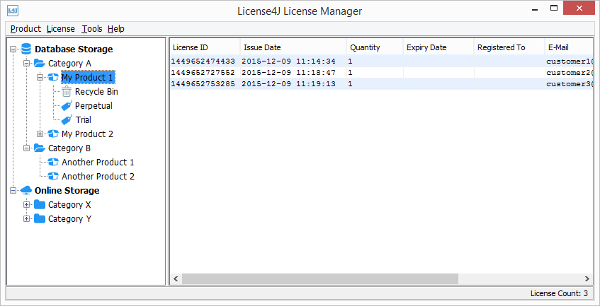 License4J License Manager Screen shot
