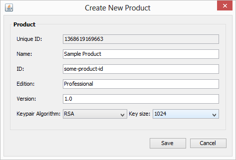 License Manager New Product window