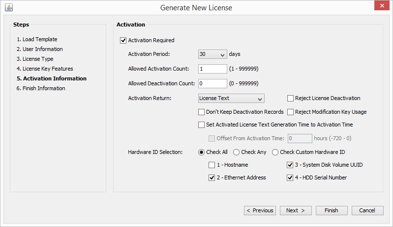 License Manager Activation Settings Window