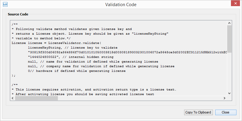 License Manager Source Code Generation