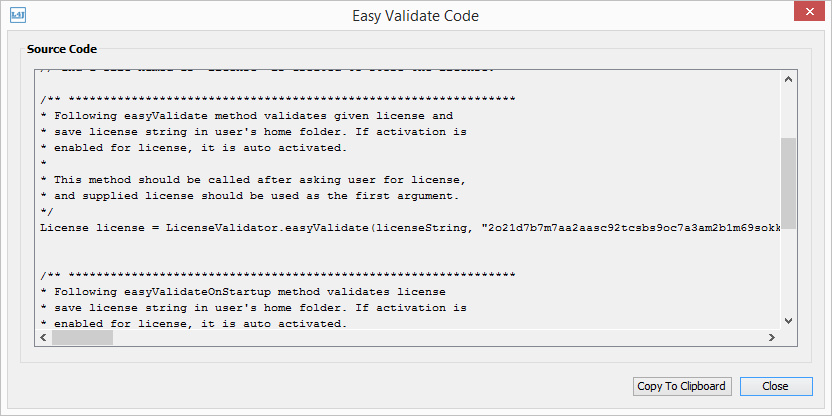 easyValidate source code window